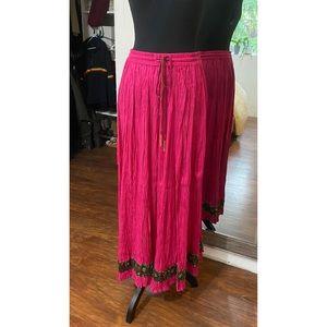 Caite | Boho Boutique Hot Pink Sparkle Maxi Skirt